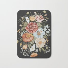 Roses and Poppies Bouquet on Charcoal Black Bath Mat