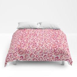 BIG KITTY KISS Watercolor Pink Animal Print Comforters