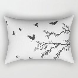 flock of flying birds on tree branch Rectangular Pillow