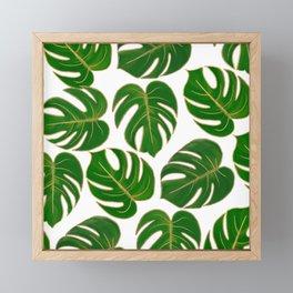 Modern hand painted green faux gold monster leaves Framed Mini Art Print