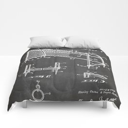 Soccer Patent - Soccer Goal Art - Black Chalkboard Comforters