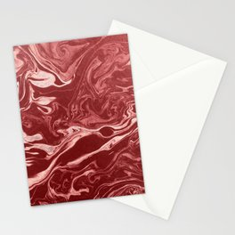 marble ink paper texture red Stationery Cards