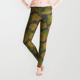 Floral Pattern in Goldenrod and Green Leggings