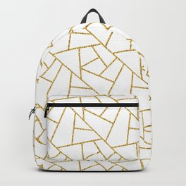 Gold and White Abstract Geometric Glitter Pattern Backpack