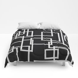 Geometric Cubic Line Pattern Black And White Comforters