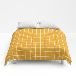 Marigold - orange color - White Lines Grid Pattern Comforters