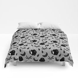 Pattern with a croissant, apples, strawberries and flowers. Black and white. Comforters