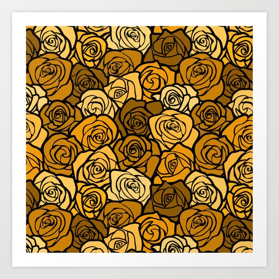 Romantic Yellow roses with black outline Art Print