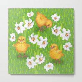 Chickens - spring yellow green Metal Print