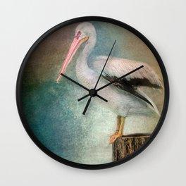 Perched Pelican Wall Clock