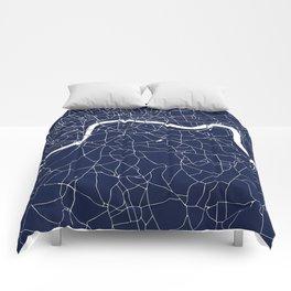 Navy on White London Street Map Comforters