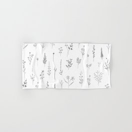 Wildflowers - Grey Flowers Hand & Bath Towel