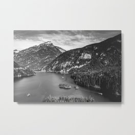 Lake Diablo - Black and White Water and Trees Metal Print