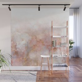 Beautiful Pink and Gold Ombre marble under snow Wall Mural