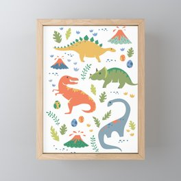 Dinos + Volcanoes Framed Mini Art Print
