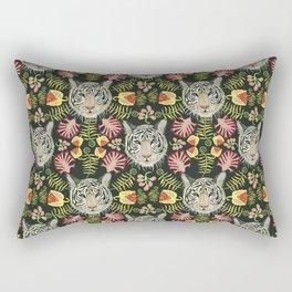 White Tiger Pattern / Black Background Rectangular Pillow