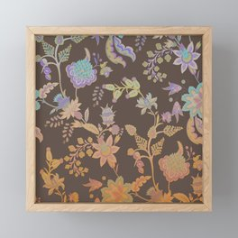 Chateau Brown Chinoiserie Decorative Floral Motif Chintz Framed Mini Art Print