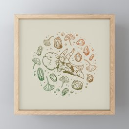 Triceratops Rocks!   Leaf Green & Pumpkin Spice Ombré Framed Mini Art Print