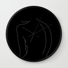 Minimal line drawing of woman's body - Alex black Wall Clock