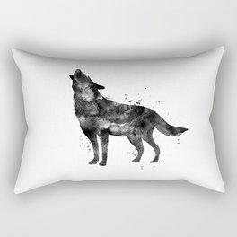 Watercolor Wolf - Black Rectangular Pillow