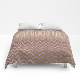 Pink and Gold Faux Velvet Grunge Chevron Stripes Comforters