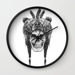 Dead shaman (b&w) Wall Clock