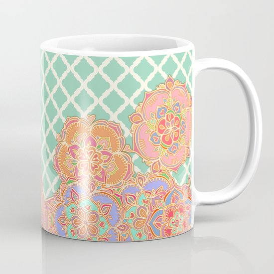 Floral Doodle on Mint Moroccan Lattice Mug