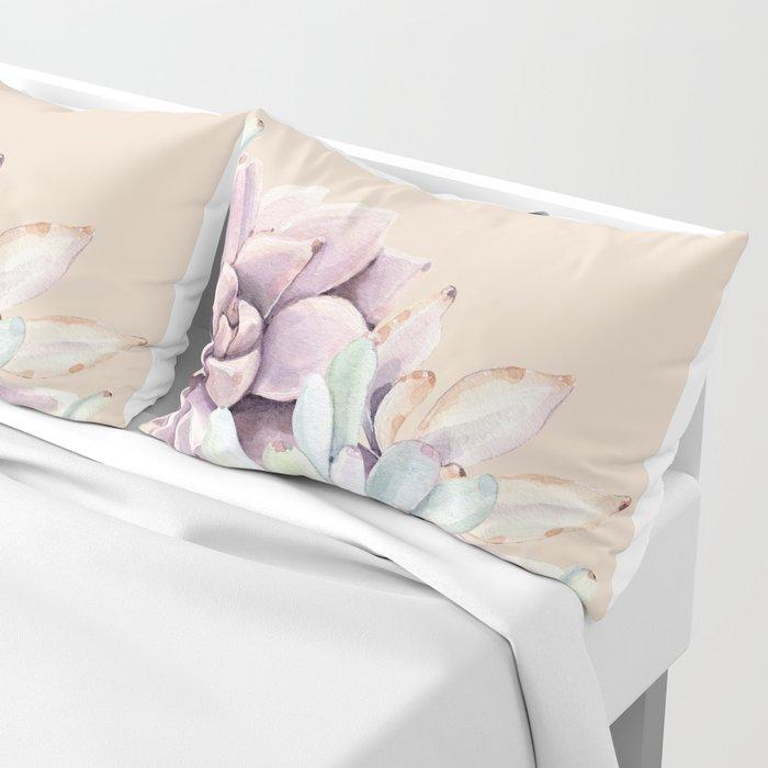 Trendy Apricot + Mint Succulents Pillow Sham