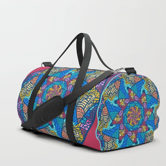 Mountain abstract mandala Duffle Bag