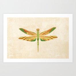 Antique Art Nouveau Dragonfly Art Print