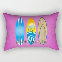 Pink Born To Surf Rectangular Pillow