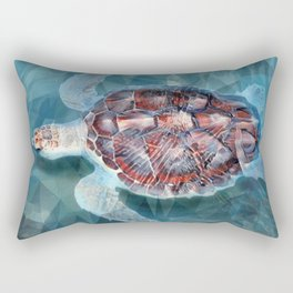 Sea Turtle In The Waves Rectangular Pillow