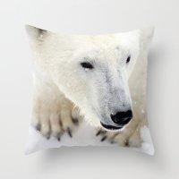 polar bear Throw Pillows featuring Polar Bear by MVision Photography