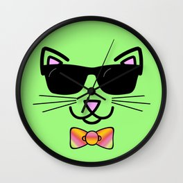 Cool Cat Wearing Bow Tie Wall Clock