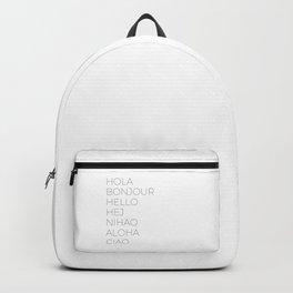Hola Bonjour Hello Hej Nihao Aloha Ciao Backpack