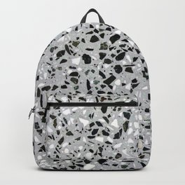 Concrete terrazzo marble texture speckle pattern gray Backpack