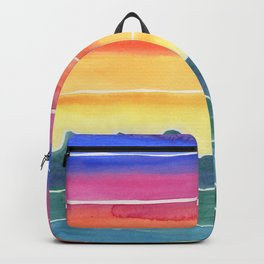 Mountains of Waves Watercolor Painting Backpack
