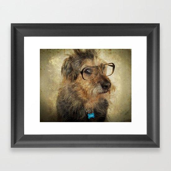 Hipster Dog Framed Art Print