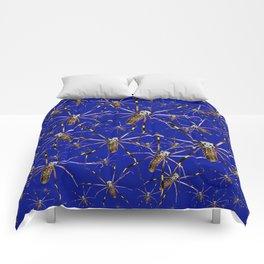 Watercolor Spider Crawl Lapis Comforters