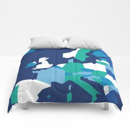 Geometric Europe Map - Blue Comforters