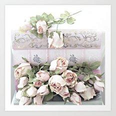 Shabby Chic Dreamy Pink Roses Cottage Floral Decor Art Print