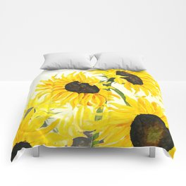 sunflower watercolor 2017 Comforters