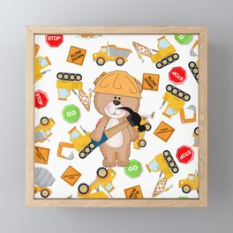 Construction Bear Hammer Framed Mini Art Print