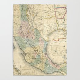 Vintage Map of Mexico (1847) Poster
