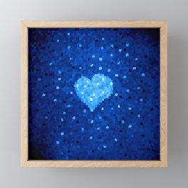 Winter Blue Crystallized Abstract Heart Framed Mini Art Print