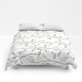 Gray ivory hand drawn watercolor leaves floral berries pattern Comforters