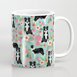 border collie cute florals mint pink black and white dog gifts for dog lover Coffee Mug