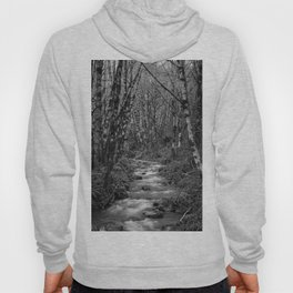 Oregon Mountain Stream and Alders Black and White Hoody
