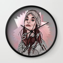 Slay Errday Tuff Girl Illustration Wall Clock