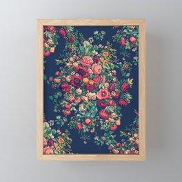 Vintage Roses on Blue Floral Pattern Framed Mini Art Print